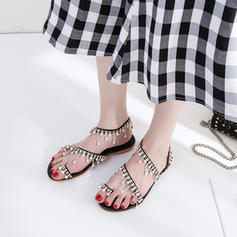 Women's Leatherette Flat Heel Sandals Flats Peep Toe Slingbacks Toe Ring With Imitation Pearl Chain shoes