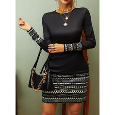 Striped Long Sleeves Bodycon Above Knee Casual/Party Dresses