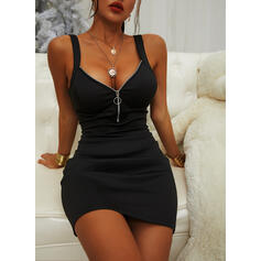 Solid Sleeveless Bodycon Above Knee Little Black/Sexy/Casual Dresses