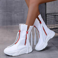 Women's PU Chunky Heel Mid-Calf Boots Round Toe With Zipper Lace-up shoes