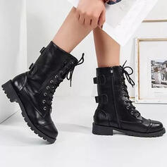 Women's PU Flat Heel Ankle Boots Martin Boots Round Toe With Buckle Lace-up shoes
