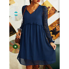 Lace/Solid Long Sleeves Shift Knee Length Casual Tunic Dresses