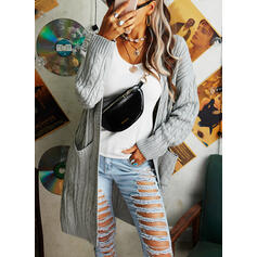 Solid Cable-knit Pocket Casual Long Cardigan