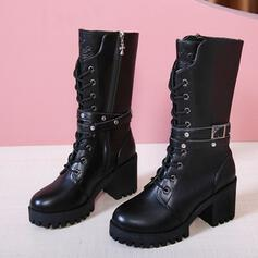 Women's PU Chunky Heel Mid-Calf Boots Martin Boots Round Toe With Zipper Lace-up shoes