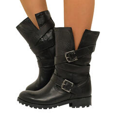 Women's PU Chunky Heel Mid-Calf Boots With Buckle Zipper shoes