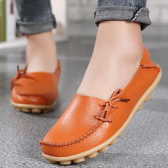 Women's Real Leather Flat Heel Flats With Bowknot shoes