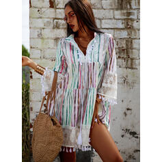 Lace/Print 3/4 Sleeves/Flare Sleeves Shift Above Knee Casual/Vacation Dresses