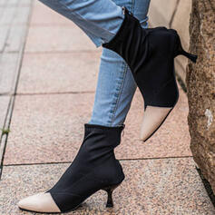 Women's Microfiber Stiletto Heel Ankle Boots Heels Pointed Toe With Faux-Fur Splice Color shoes