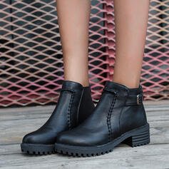 Women's PU Chunky Heel Ankle Boots Round Toe With Buckle Zipper Solid Color shoes
