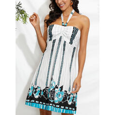Print Sleeveless Shift Above Knee Sexy/Vacation Dresses