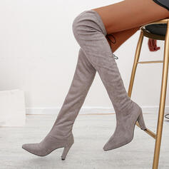 Women's Suede Chunky Heel Knee High Boots Pointed Toe With Zipper Solid Color shoes