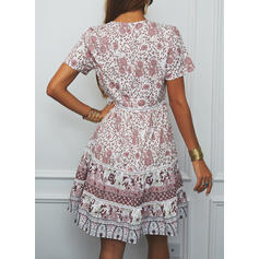 Print/Floral Short Sleeves A-line Above Knee Casual/Boho/Vacation Skater Dresses
