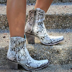 Women's PU Chunky Heel Ankle Boots Pointed Toe With Animal Print Zipper shoes