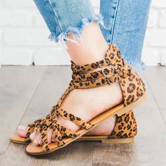 Women's Microfiber Leather Flat Heel Sandals Flats Peep Toe With Others shoes