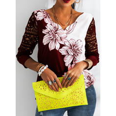 Print Floral Lace V-Neck 3/4 Sleeves Casual Blouses