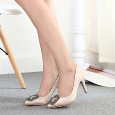 Women's Silk Like Satin Stiletto Heel Pumps With Rhinestone shoes