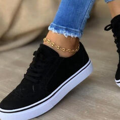 Women's PU Flat Heel Flats Low Top Round Toe Espadrille Sneakers With Lace-up Solid Color shoes