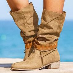 Women's PU Chunky Heel Boots Mid-Calf Boots Round Toe With Lace-up shoes