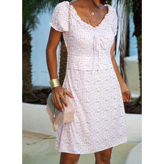 Print/Floral Short Sleeves/Puff Sleeves Sheath Above Knee Casual Dresses