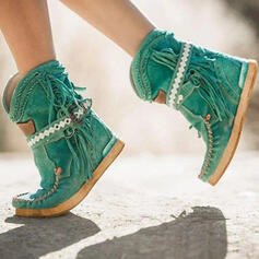 Women's PU Flat Heel Ankle Boots Round Toe With Buckle Tassel Solid Color shoes