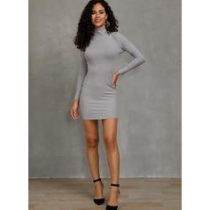 Solid Ribbed Turtleneck Casual Long Tight Sweater Dress