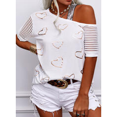 Print Sequins Heart One-Shoulder Short Sleeves Casual Blouses