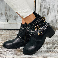 Women's Leatherette Chunky Heel Ankle Boots Martin Boots Round Toe With Rivet Buckle shoes