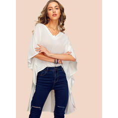 Solid V-Neck Batwing Sleeve 1/2 Sleeves Casual Elegant Blouses