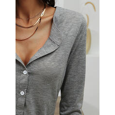 Solid V-Neck Long Sleeves Button Up Casual Basic Blouses
