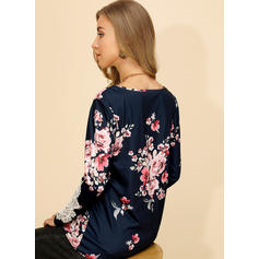 Print Floral Lace Round Neck Long Sleeves Casual Blouses