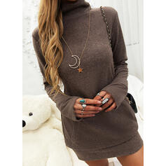 Solid Pocket Turtleneck Casual Long Sweater Dress