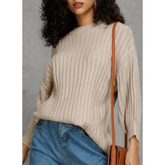 Solid Ribbed Chunky knit Round Neck Casual Sweaters