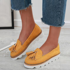 Women's Suede Flat Heel Flats With Tassel Solid Color shoes