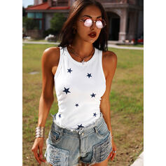 Print Round Neck Sleeveless Casual Knit Tank Tops