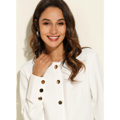 Solid V-Neck Long Sleeves Button Up Casual Blouses