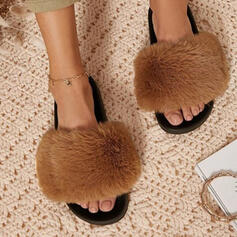 Women's Fake fur Flat Heel Sandals Flats Peep Toe Slippers With Faux-Fur shoes