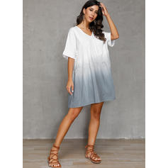 Gradient Short Sleeves A-line Knee Length Casual/Vacation Dresses
