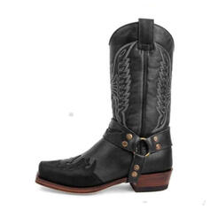 Women's Leatherette Chunky Heel Mid-Calf Boots Round Toe With Rivet shoes