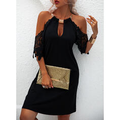Lace/Solid 1/2 Sleeves Shift Above Knee Little Black/Casual/Vacation Tunic Dresses