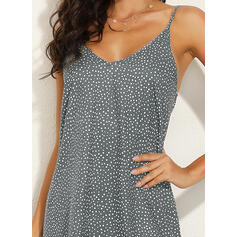 Print Sleeveless Shift Above Knee Casual/Vacation Slip Dresses