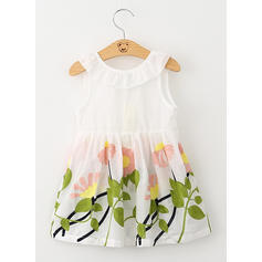 Girls Round Neck Floral Embroidery Casual Cute Dress