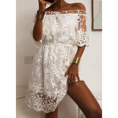 Lace/Solid 1/2 Sleeves Sheath Above Knee Casual Dresses