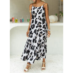 Leopard Sleeveless Shift Slip Casual Maxi Dresses