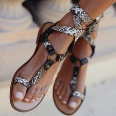 PU Flat Heel Sandals Flats Peep Toe Toe Ring With Buckle shoes