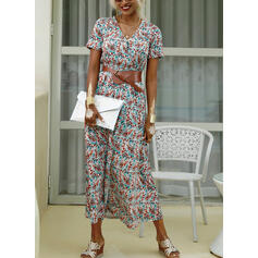 Print Short Sleeves A-line Casual Maxi Dresses