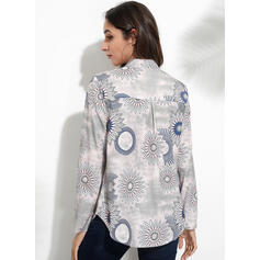Print Floral V-Neck Long Sleeves Button Up Casual Blouses