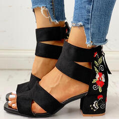 Women's Suede Chunky Heel Pumps With Zipper Flower shoes