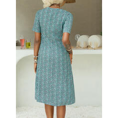 Print Short Sleeves A-line Knee Length Casual/Vacation Skater Dresses