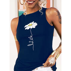 Figure Floral Print Round Neck Sleeveless Tank Tops