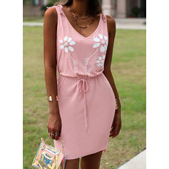 Print/Floral/Letter Sleeveless Sheath Above Knee Casual Dresses